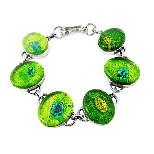 Royal Color !! Dico Glass 925 Sterling Silver Bracelet