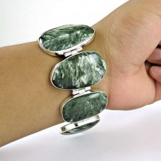 Delicate Seraphinite Gemstone Sterling Silver Bracelet Jewelry