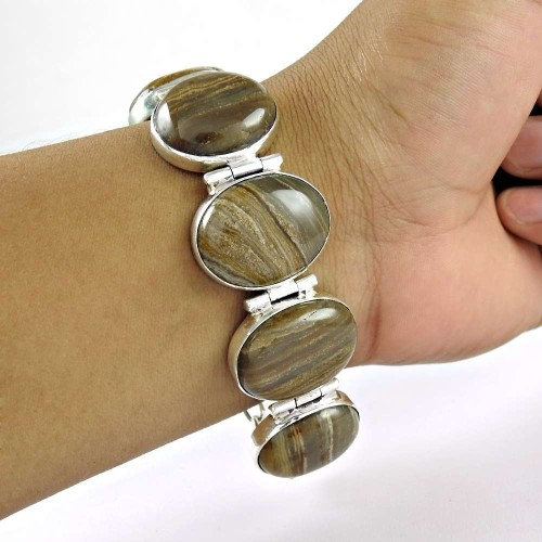 Simple !! 925 Sterling Silver Zebra Flint Bracelet