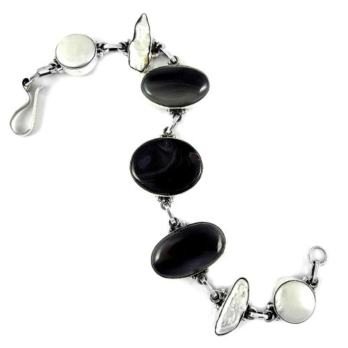 Natural Beauty !! 925 Sterling Silver Freshwater Pearl, South Sea Pearl, Botswana Agate Bracelet