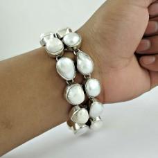 Fashion Design Pearl Gemstone Sterling Silver Bracelet Jewelry