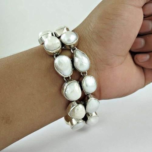 Fashion Design Pearl Gemstone Sterling Silver Bracelet Jewelry