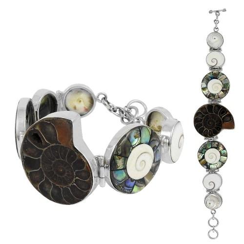 Hot Selling Ammonite, Shell, Shiva Eye Gemstone Sterling Silver Bracelet Jewelry
