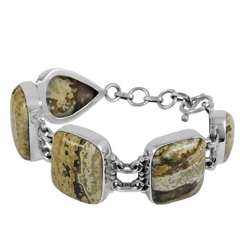 Latest Design Ocean Jasper Gemstone Sterling Silver Bracelet Jewelry