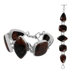 Passionate Love Mahaguni Jasper Gemstone Sterling Silver Bracelet Jewelry
