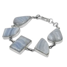 Schemer Blue Lace Agate Gemstone Sterling Silver Bracelet Jewelry