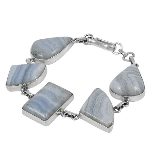 Schemer Blue Lace Agate Gemstone Sterling Silver Bracelet Jewelry