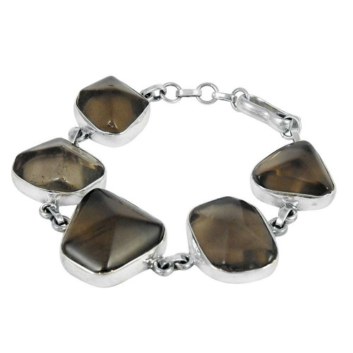Amazing Design Smoky Quartz Gemstone Sterling Silver Bracelet Jewelry