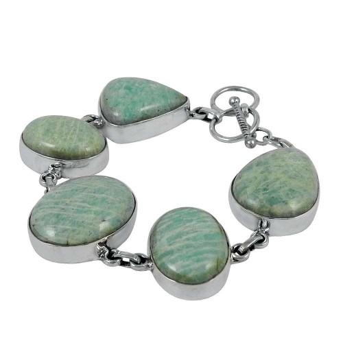 Ethnic Amazonite Gemstone Sterling Silver Bracelet Jewelry