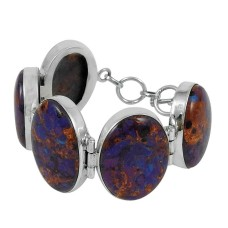 Favorite Purpal Copper Turquoise Gemstone Sterling Silver Bracelet Jewelry