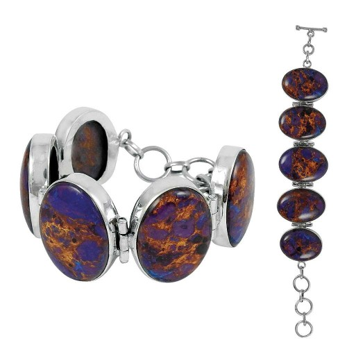Best Quality Purpal Copper Turquoise Gemstone Sterling Silver Bracelet Jewelry