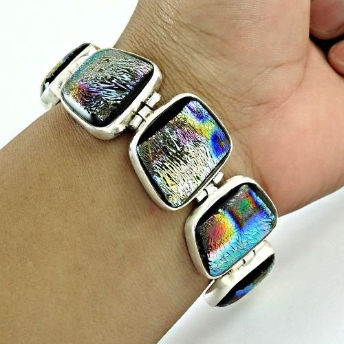 Lively Dico Glass Gemstone Sterling Silver Bracelet Jewelry