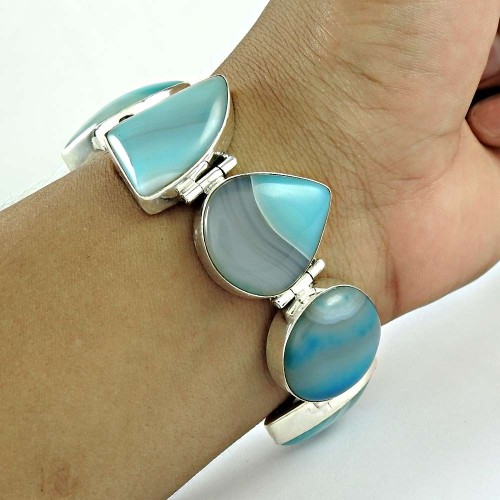 Secret Design Striped Onyx Gemstone Sterling Silver Bracelet Jewelry