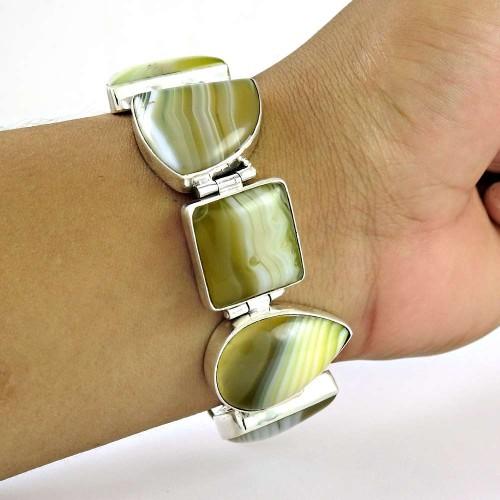 Antique Look Striped Onyx Gemstone Sterling Silver Bracelet Jewelry