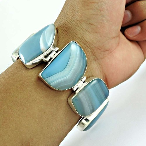 Classy Striped Onyx Gemstone Sterling Silver Bracelet Jewelry