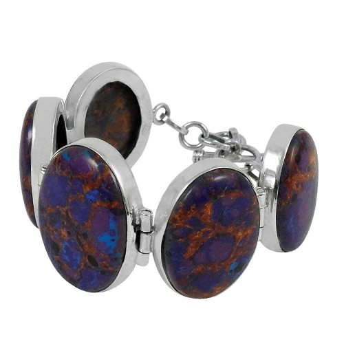 Personable Purpal Copper Turquoise Gemstone Sterling Silver Bracelet Jewelry