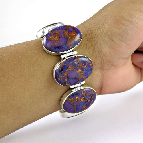 Scrumptious Purpal Copper Turquoise Gemstone Sterling Silver Bracelet Jewelry