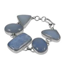 Deluxe Chalcedony Gemstone Sterling Silver Bracelet Jewelry