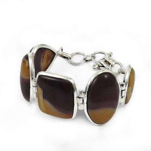Artisan Mookaite Gemstone Sterling Silver Bracelet Jewelry