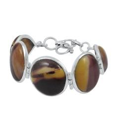2018 Fashion Mookite Gemstone 925 Sterling Silver Bracelet
