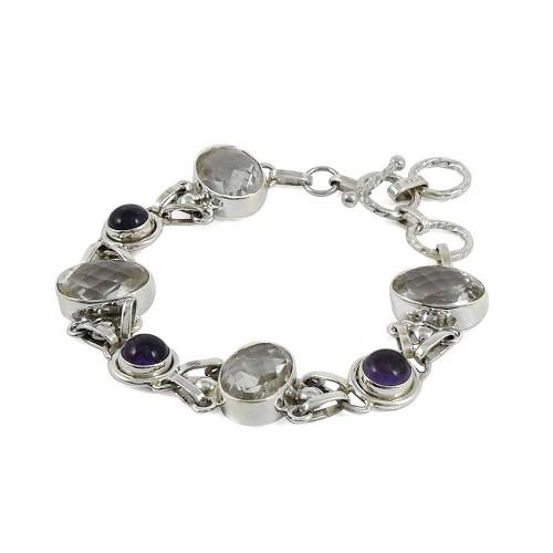 Draditions Green Amethyst, Amethyst Gemstone Sterling Silver Bracelet Jewelry