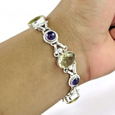 Exhilarant Lemon Topaz, Amethyst Gemstone Sterling Silver Bracelet Jewelry