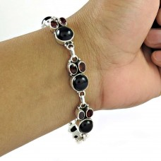 Shapely Black Onyx, Garnet Gemstone Sterling Silver Bracelet Jewelry