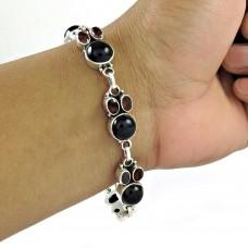 Shapely Black Onyx, Garnet Gemstone Sterling Silver Bracelet Jewelry