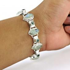 Classy Style Rainbow Moonstone, Blue Topaz Gemstone Sterling Silver Bracelet Jewelry