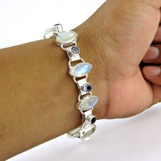 Dream Day Rainbow Moonstone, Amethyst Gemstone Sterling Silver Bracelet Jewelry