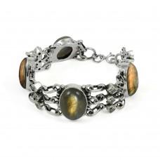 Exquisite Labradorite, White CZ Gemstone Sterling Silver Bracelet Jewelry