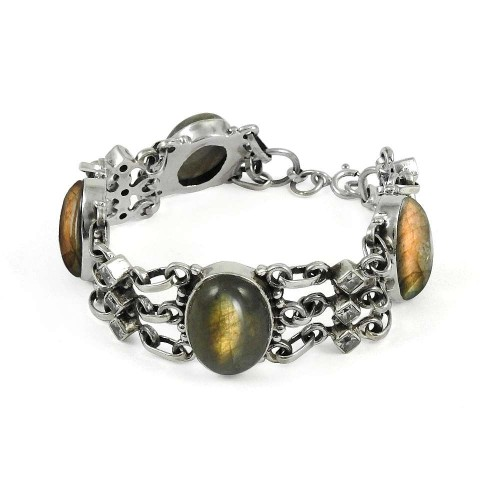 Exquisite Labradorite, White CZ Gemstone Sterling Silver Bracelet Jewelry