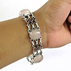 Popular Design Rose Quartz, Garnet Gemstone Sterling Silver Bracelet Jewelry