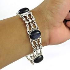 Shine Blue Sunstone, White CZ Gemstone Sterling Silver Bracelet Jewelry
