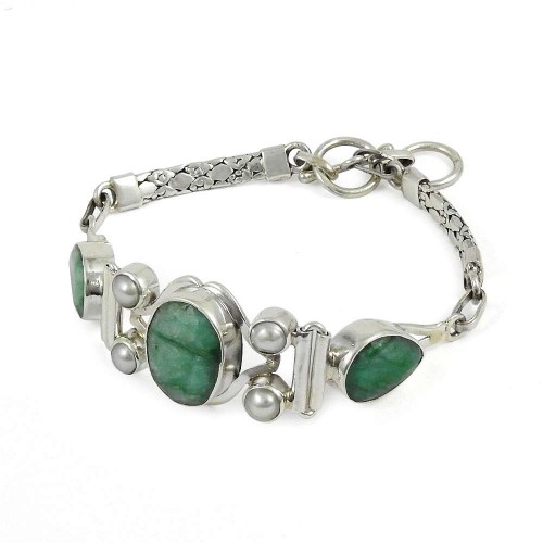Sightly Emerald, Pearl Gemstone Sterling Silver Bracelet Jewelry