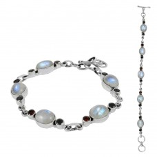 Big Dreamer Rainbow Moonstone, Garnet Gemstone Sterling Silver Bracelet Jewelry
