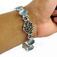 Amazing!! 925 Sterling Silver Mother Of Pearl, Amethyst, Garnet, Citrine, Peridot Bracelet