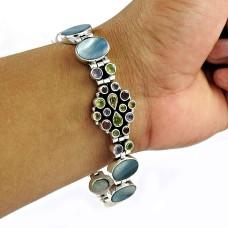 Amazing!! 925 Sterling Silver Mother Of Pearl, Amethyst, Garnet, Citrine, Peridot Bracelet