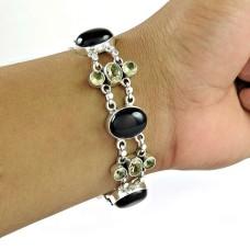 Simple Black Onyx, Green Amethyst Gemstone Sterling Silver Bracelet Jewelry
