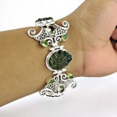 Big Natural!! 925 Sterling Silver Moldavite, Peridot Bracelet
