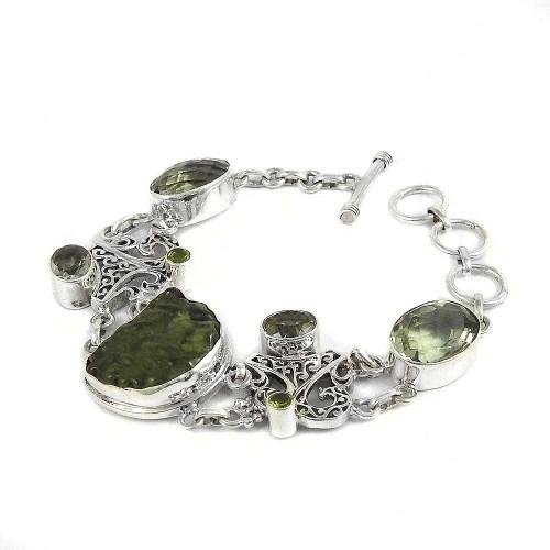 Kiss!! 925 Sterling Silver Moldavite, Peridot, Green Amethyst Bracelet