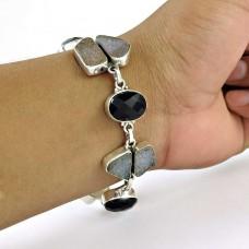 suave Black Onyx, Druzy Gemstone Sterling Silver Bracelet Jewelry