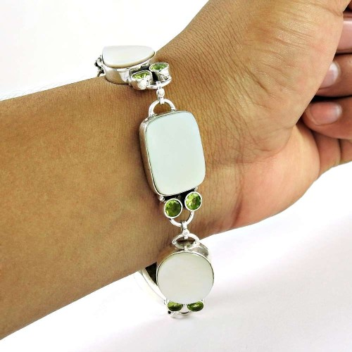 Stylish Design MOther Of Pearl, Peridot Gemstone Sterling Silver Bracelet Jewelry