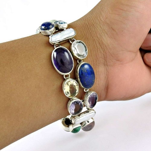 Big Inspire ! Multi Stone Gemstone Sterling Silver Bracelet Jewelry