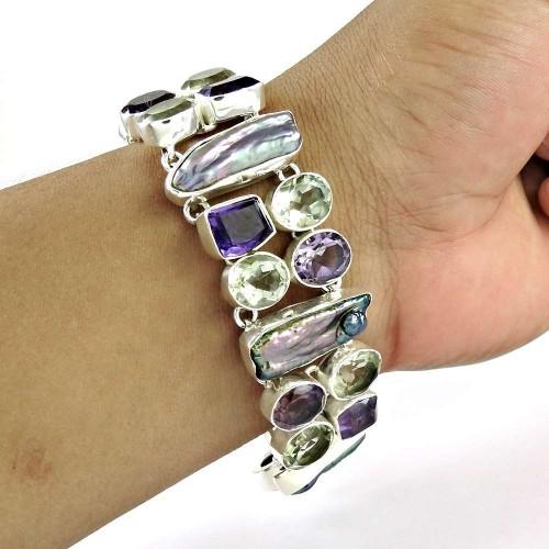 Easeful ! Amethyst, Green Amethyst, Biwa Pearl Gemstone Sterling Silver Bracelet Jewelry