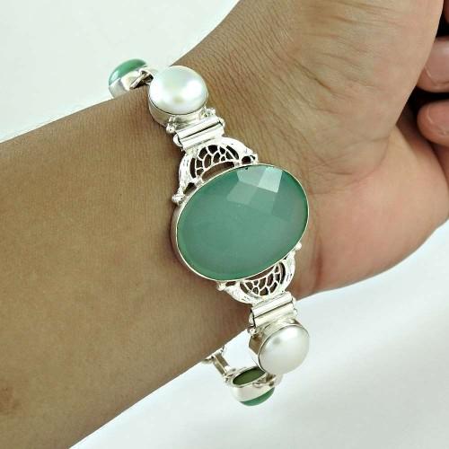 Pleasing Chalcedony, Pearl Gemstone Sterling Silver Bracelet 925 Sterling Silver Jewellery