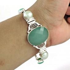 Sightly Chalcedony, Pearl Gemstone Sterling Silver Bracelet Indian Sterling Silver Jewellery