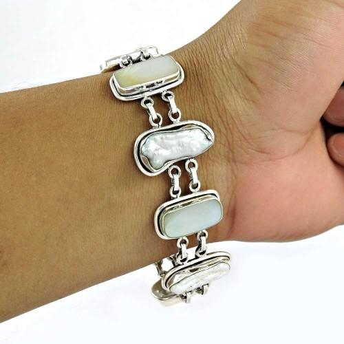 Modern Style ! Mother Of Pearl, Biwa Pearl Gemstone Sterling Silver Bracelet Jewelry