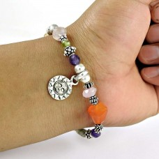 Faceted ! Amethyst, Garnet, Citrine, Carnelian, Rose Quartz, Labradorite Gemstone Sterling Silver Bracelet Jewelry