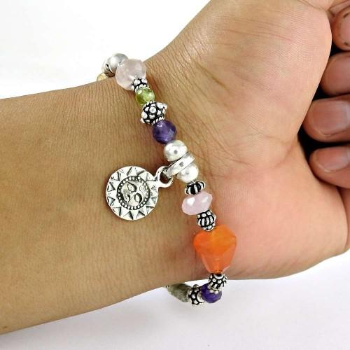 Faceted ! Amethyst, Garnet, Citrine, Carnelian, Rose Quartz, Labradorite Gemstone Sterling Silver Bracelet Jewelry